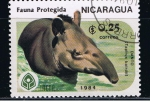 Sellos del Mundo : America : Nicaragua : Fauna protegida  Danto Tapirus bairdii