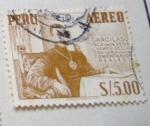 Stamps : America : Peru :  GARCILASO INCA DE LA VEGA CHIMPU OCLLO 1539 1616 AUTOR DE COMENTARIOS REALES