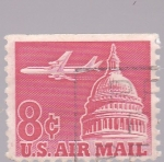Stamps : America : United_States :  Capitolio y avión