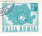 Sellos del Mundo : Europa : Rumania : mapa de Rumanía,comunicaciones