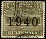 Sellos del Mundo : America : Guatemala : Edificio de correos y telégrafos nacionales. UPU 1927. Sobreimpreso 1940
