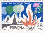 Stamps Spain -  75 aniv del movimiento Scout         (A)