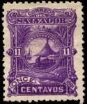 Stamps America - El Salvador -  Paisaje Bahía con volcán.