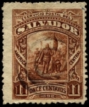 Stamps America - El Salvador -  Desembarco de Colón.