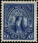 Stamps El Salvador -  Imagen de mujer con ramo fondo volcán en erupción.