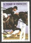 Stamps : Africa : São_Tomé_and_Príncipe :  1250 - Caballos, saltos de obstáculos