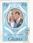 Stamps Ghana -  Principe Carlos y Diana