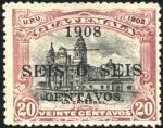 Sellos del Mundo : America : Guatemala : La Catedral.  UPU 1902.  Sobreimp. 1908