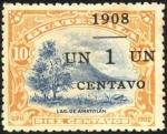 Sellos del Mundo : America : Guatemala : Lago Amatitlán y el volcán Pacaya. UPU 1902 . Sobreimp. 1908