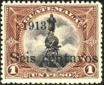 Stamps Guatemala -  Monumento de Colón.  UPU 1902. Sobreimp. 1913