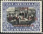 Stamps America - Guatemala -  Próceres en la declaración de la independencia. 1902 sobreimpreso 1908