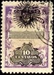 Stamps America - El Salvador -  Timbre Palacio Presidencial sobreimp. sol, ancla y escudo DCC.