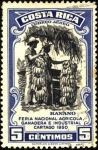 Stamps America - Costa Rica -  Banano. Feria nacional agrícola ganadera e industrial. Cártago 1950.