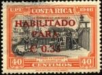 Sellos de America - Costa Rica -  Colón en Cariarí. UPU 1946. Sobreimpreso