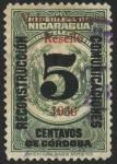 Stamps America - Nicaragua -  Telégrafos, Gorro frigio, volcanes y banderas 1921 resello 1936.