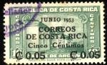 Stamps America - Costa Rica -  Sello fiscal, timbre de archivo. Sobreimpreso