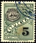 Stamps America - Costa Rica -  Timbre de servicio oficial, Escudo de Costa Rica. UPU 1926.