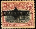 Stamps America - Costa Rica -  Teatro Nacional, UPU 1900. sobreimpreso.
