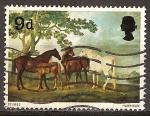 Sellos del Mundo : Europa : Reino_Unido : Yeguas y potros de George Stubbs(pintor).