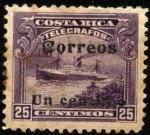 Stamps America - Costa Rica -  Timbre telégrafos. Barco a vapor. 1910. sobreimpreso