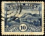 Sellos de America - Costa Rica -  Timbre telégrafo, paisaje con tren,