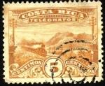 Stamps America - Costa Rica -  Timbre telégrafo, paisaje con tren,