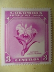 Stamps of the world : Colombia :  75° Aniversario de la Unión Postal Universal (Scott/443/9)-CATTLEYA  LABIATA  TRIANIAE-Colombia 1874