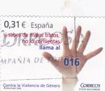 Stamps Spain -  Si sabes de malos tratos no lo consientas llama 016   (C)