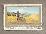 Stamps North Korea -  Gracias al gran leader obtenemos una cosecha record