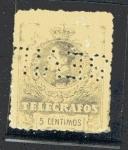 Stamps : Europe : Spain :  Alfonso XIII - Telégrafos - Taladrado