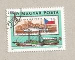 Sellos de Europa - Hungría -  Barco de vapor con ruedas