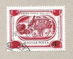 Sellos de Europa - Hungría -  El coche a caballos rojo, novela