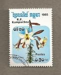 Stamps Cambodia -  Lilium Dragon negro