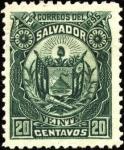 Sellos del Mundo : America : El_Salvador : Escudo antiguo de El Salvador. UPU 1895.