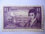 Sellos de America - Colombia -  Descubrimiento de la Hipsometría por Francisco José de Caldas 1799.Año Geofisico-Mundial 1957/58.