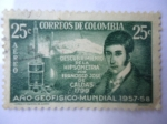 Stamps of the world : Colombia :  Descubrimiento de la Hipsometría por Francisco José de Caldas 1799.Año Geofisico-Mundial 1957/58.