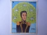 Stamps of the world : Colombia :  Simón Bolivar (1783-1830)- Dibujo de la niña  Edith Vargas Muñoz - 1983 (Bolivar)