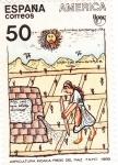 Sellos de Europa - España -  Agricultura Incaica, reiego del maiz    (D)