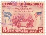 Stamps : America : Honduras :  LINCOLN LIBERTANDO A LOS ESCLAVOS