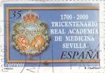 Stamps Spain -  1700-2000 tricentenario Real Academia de Medicina Sevilla    (D)