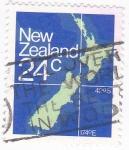 Stamps New Zealand -  Mapa Nueva Zelanda