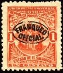 Sellos de America - El Salvador -  República mayor de Centro América. UPU 1898. sobreimpreso franqueo oficial