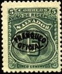 Stamps America - El Salvador -  Timbre aviso de recepción. 1897.Sobreimpreso franqueo oficial.