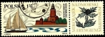 Stamps Poland -  Faro de Kolobrzec y yate. Flora eryngium maritimum.