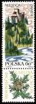 Sellos de Europa - Polonia -  Castillo de Niedzica. Flora Carlina acaulis.