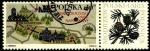 Stamps Poland -  Mapa gráfico del parque nacional Swietokrzyski. Flora modrzew polski-larix (larix polonica).