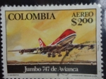 Stamps Colombia -  Jumbo 747 DE Avianca - 747 Jet - Primer vuelo Avianca - Frankfurt