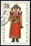 Stamps of the world : Mongolia :  Trajes típicos. Khalka (mujer).
