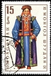 Sellos de Asia - Mongolia -  Trajes típicos. Sakhchin (mujer).