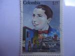 Stamps Colombia -  carlos Gardel (1890-1935) - Trimotor, Portrait f-3 -1935- Medellín-50 añ0s de su muerte